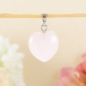 Кулон сердечко розовый кварц Намибия 2 см