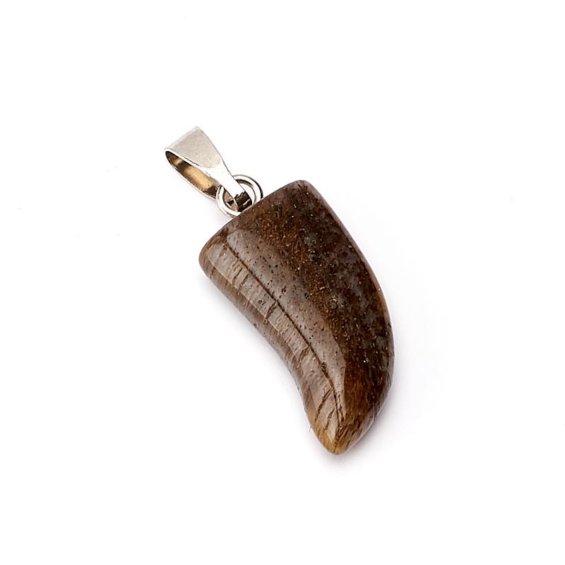 Кулон клык агат моховой Индия 2,5 см