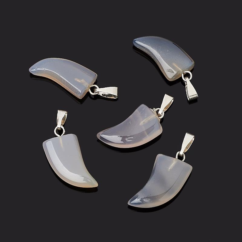 Кулон клык агат серый Бразилия (биж. сплав) 2,5 см