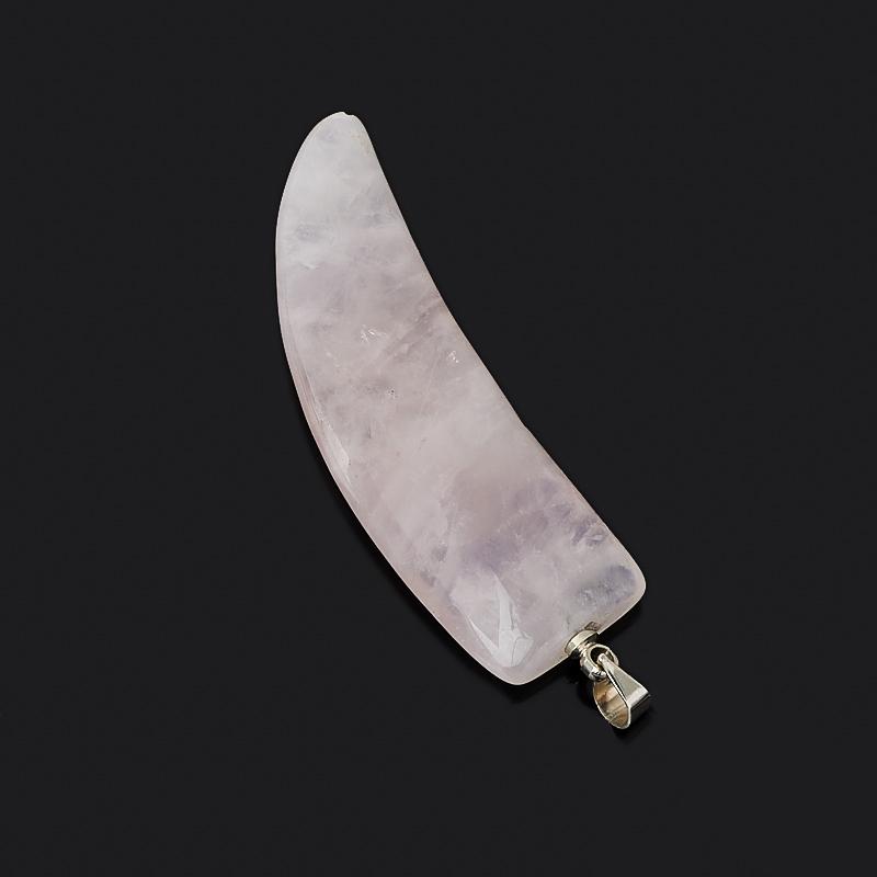 Кулон розовый кварц Намибия клык (биж. сплав) 5 см