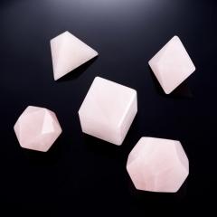 Набор платоновы тела розовый кварц Бразилия