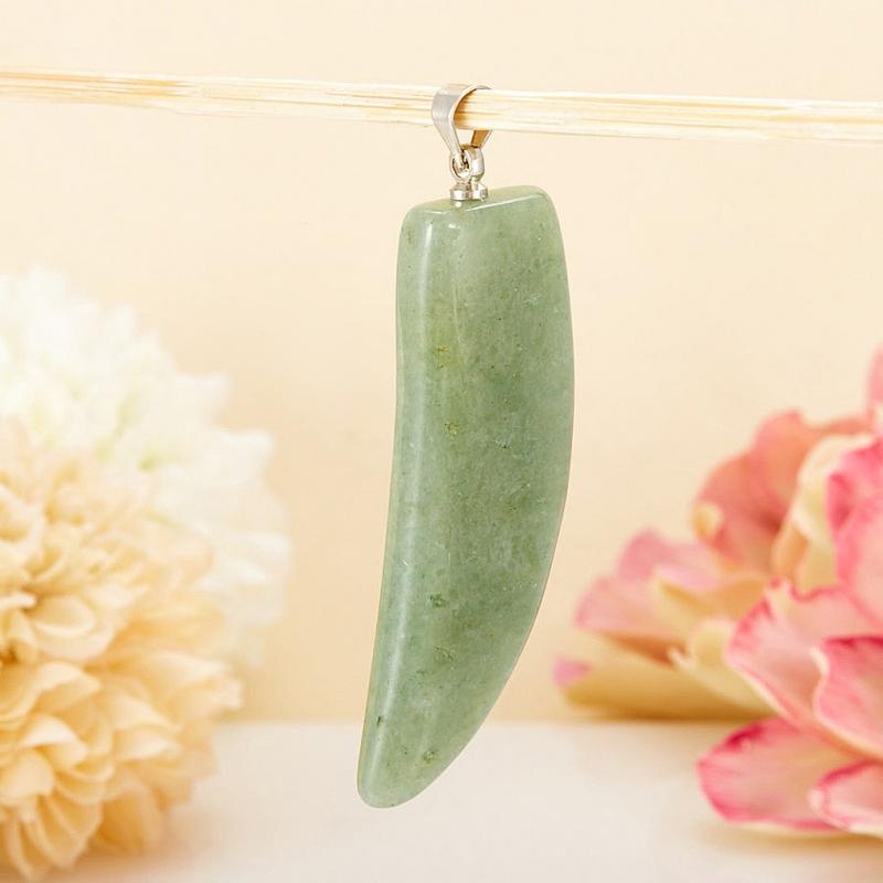Кулон-клык авантюрин зеленый  5 см