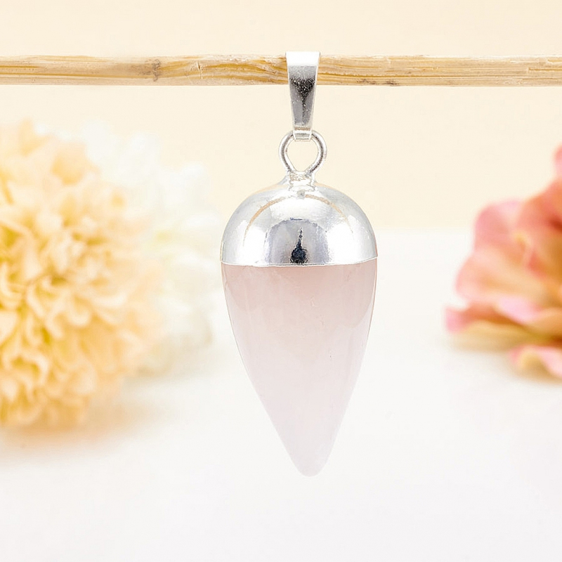 Кулон розовый кварц  4 см