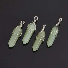 Кулон кристалл авантюрин зеленый Зимбабве (биж. сплав) 3,5-4 см