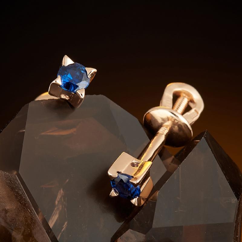 Серьги (пуссеты) сапфир  огранка (золото 585 пр.) серьги пуссеты сапфир огранка золото 585 пр