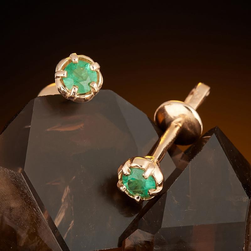 Серьги (пуссеты) изумруд  огранка (золото 585 пр.) серьги пуссеты бриллиант огранка золото 585 пр