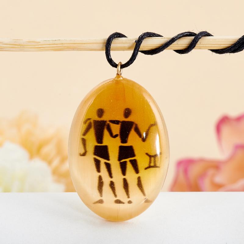 Кулон Близнецы селенит светлый  3,5 см кулон знак зодиака мастер золотой кулон близнецы с куб циркониями nd10649b
