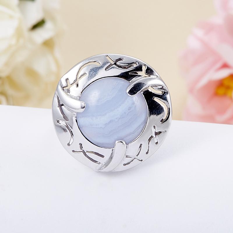 Кольцо агат голубой  (серебро 925 пр.)  размер 18,5 серьги агат серый серебро 925 пр