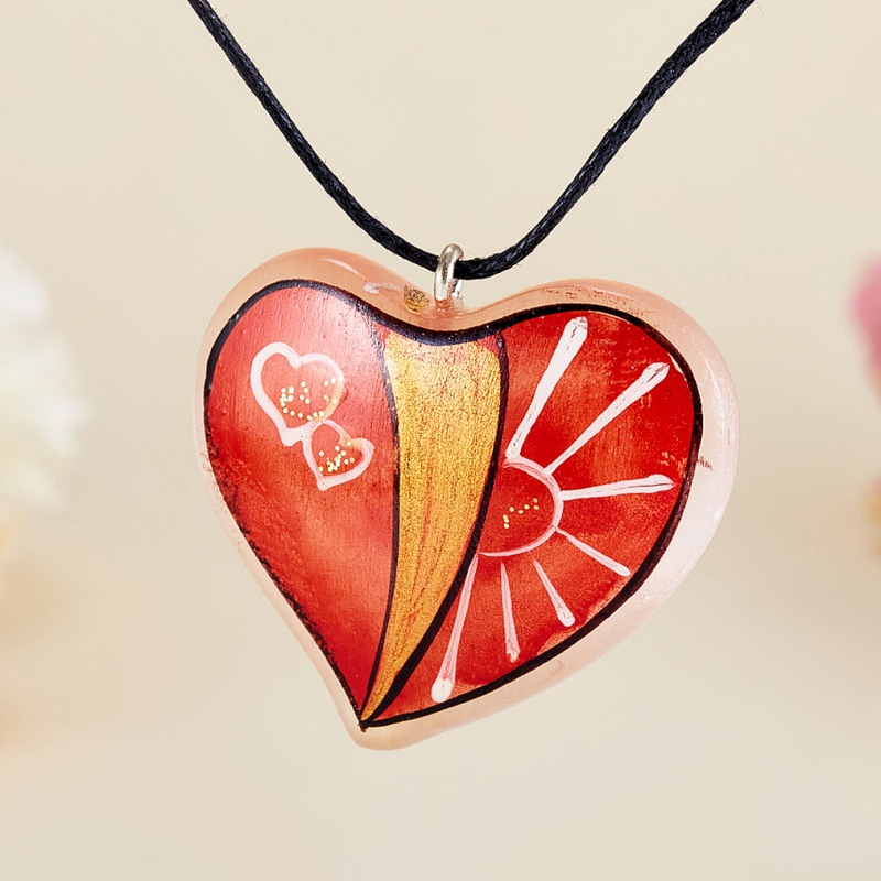 Кулон Сердце селенит  3,5 см