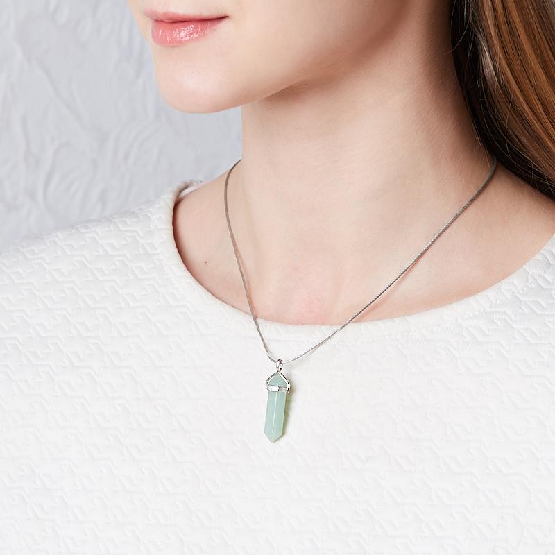 Кулон кристалл авантюрин зеленый Зимбабве 4 см