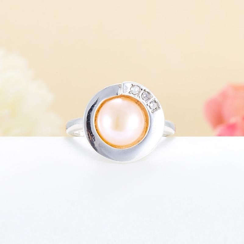 Кольцо жемчуг персиковый (серебро 925 пр.) размер 17 цены