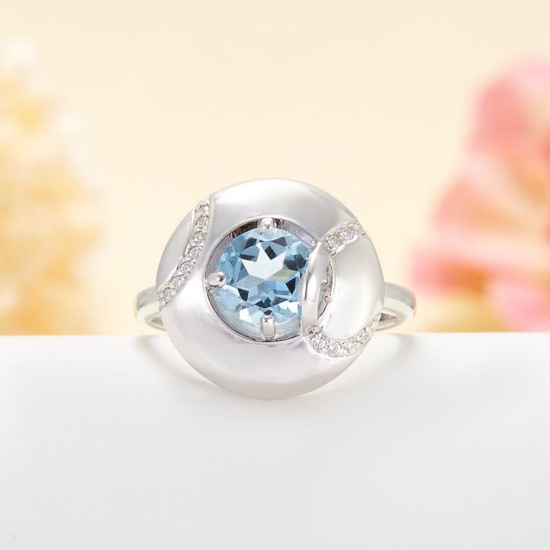 Кольцо топаз голубой огранка (серебро 925 пр.) размер 18,5 кольцо коюз топаз кольцо т101018156