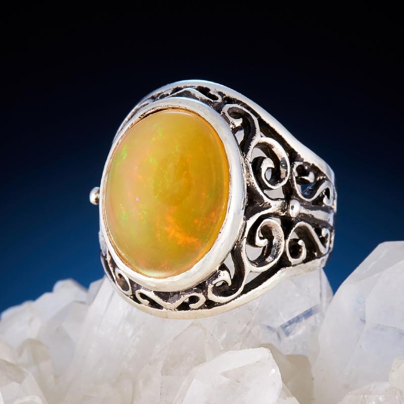 Кольцо опал огненный  (серебро 925 пр.)  размер 17,5