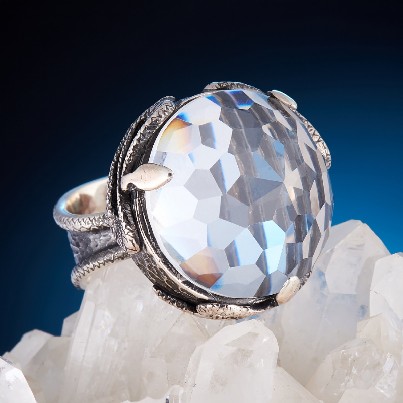 [del] Кольцо горный хрусталь Бразилия огранка (серебро 925 пр.) размер 21,5