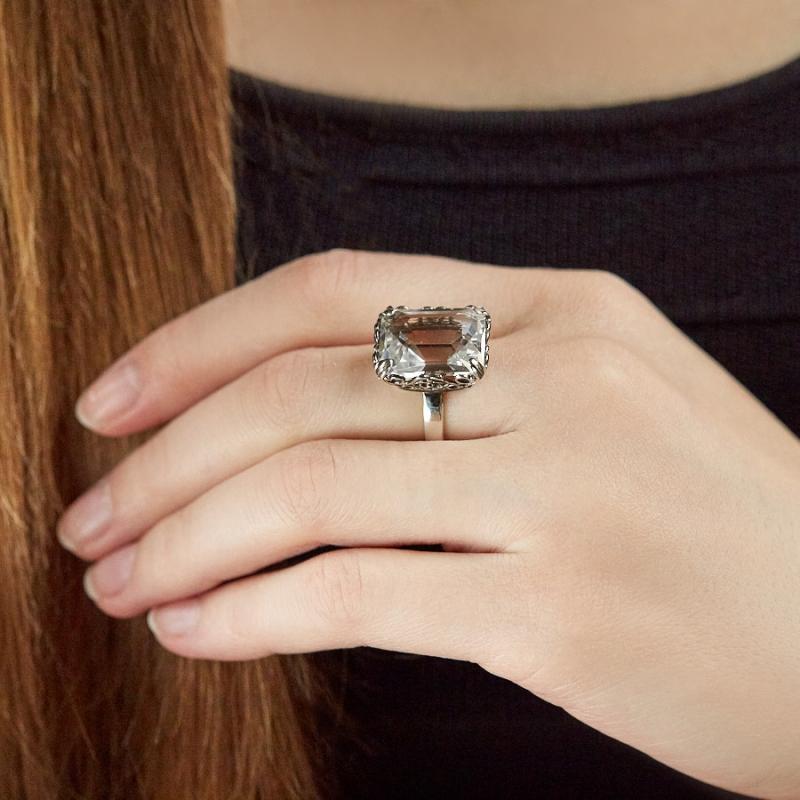 [del] Кольцо горный хрусталь Бразилия огранка (серебро 925 пр.)  размер 16,5