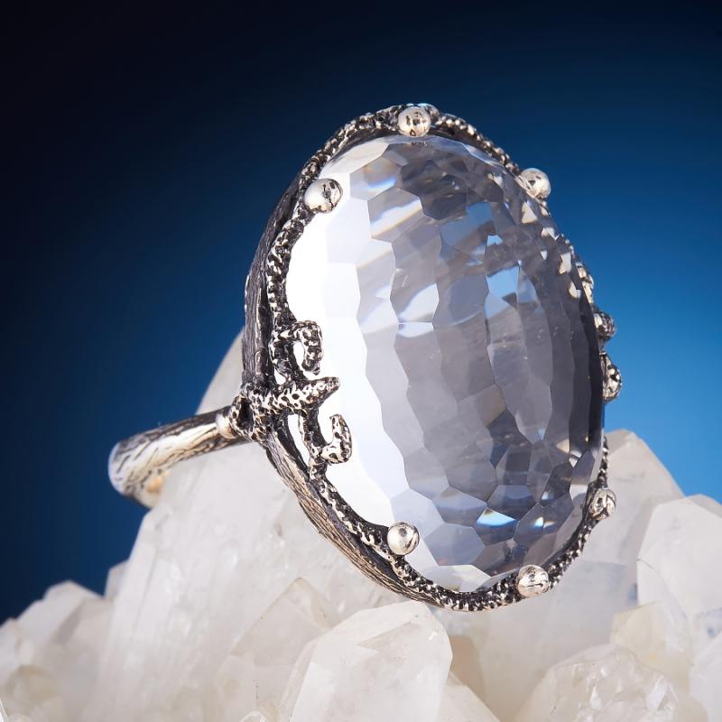 [del] Кольцо горный хрусталь Бразилия огранка (серебро 925 пр.,чернение) размер 16