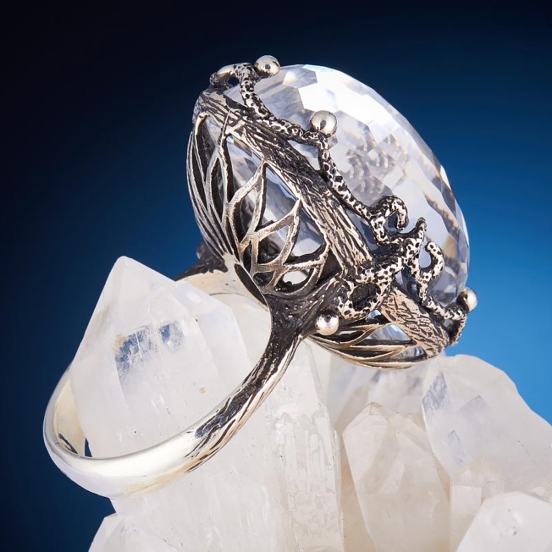 [del] Кольцо горный хрусталь Бразилия огранка (серебро 925 пр.,чернение) размер 17