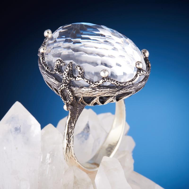 [del] Кольцо горный хрусталь Бразилия огранка (серебро 925 пр.,чернение) размер 20,5
