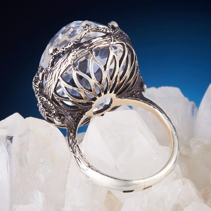[del] Кольцо горный хрусталь Бразилия огранка (серебро 925 пр.,чернение) размер 21