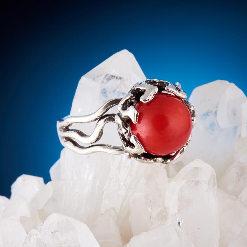 [del] Кольцо коралл красный Индонезия (серебро 925 пр.)  размер 19,5