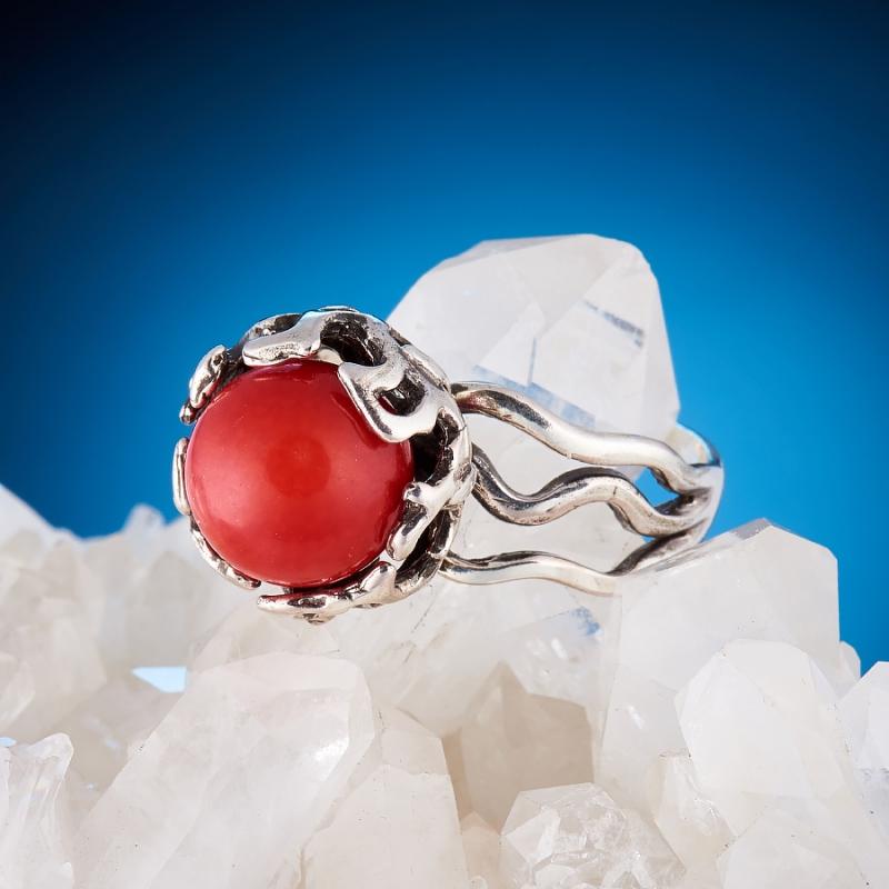 [del] Кольцо коралл красный Индонезия (серебро 925 пр.)  размер 21