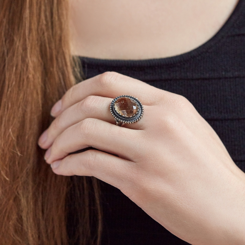 Кольцо аметрин Бразилия огранка (серебро 925 пр.) размер 19,5