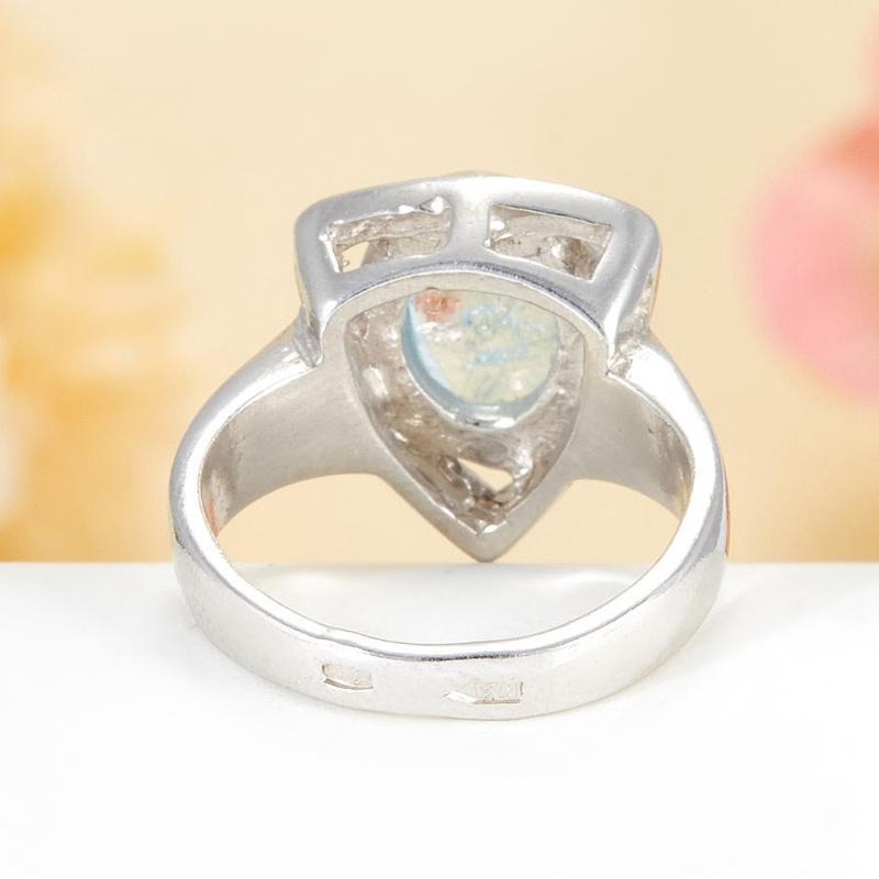 [del] Кольцо аквамарин Россия (серебро 925 пр.)  размер 18