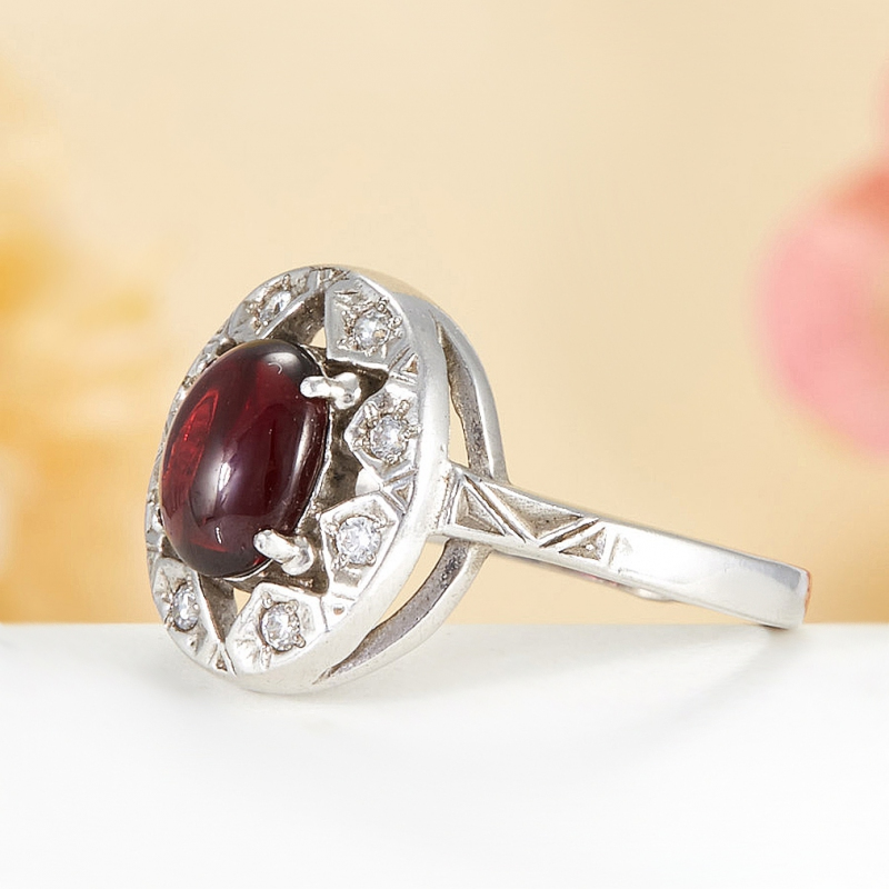 [del] Кольцо гранат Индия (серебро 925 пр.)  размер 22