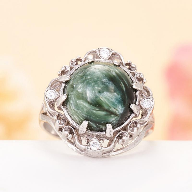 [del] Кольцо клинохлор (серафинит) Россия (серебро 925 пр.)  размер 18
