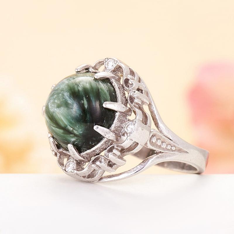 [del] Кольцо клинохлор (серафинит) Россия (серебро 925 пр.)  размер 21,5