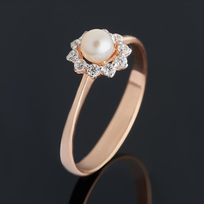 Кольцо жемчуг белый (серебро 925 пр. позолота) размер 15,5
