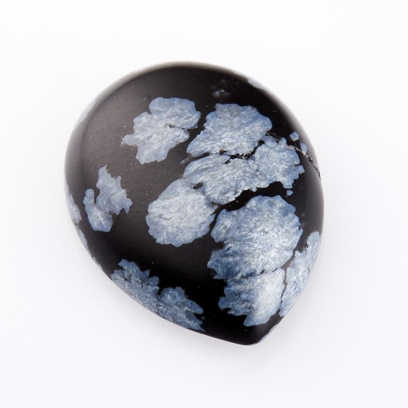 Кабошон обсидиан снежный  13*18 мм