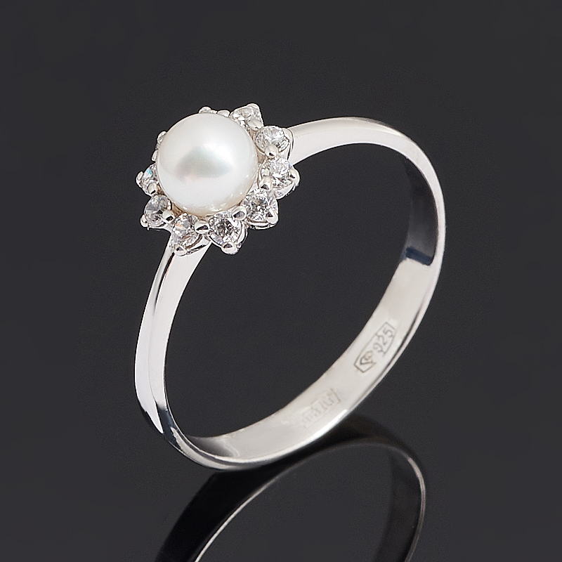 Кольцо жемчуг белый Гонконг (серебро 925 пр. родир. бел.) размер 16,5